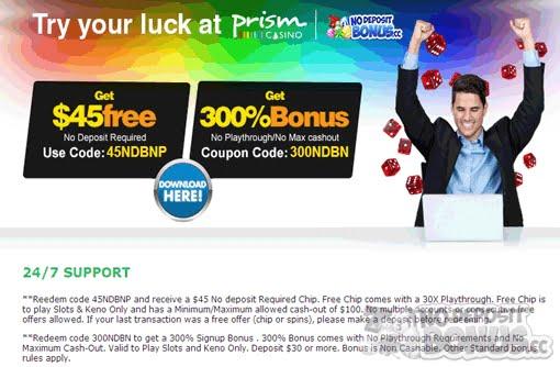 No deposit sign up bonus prism casino no deposit
