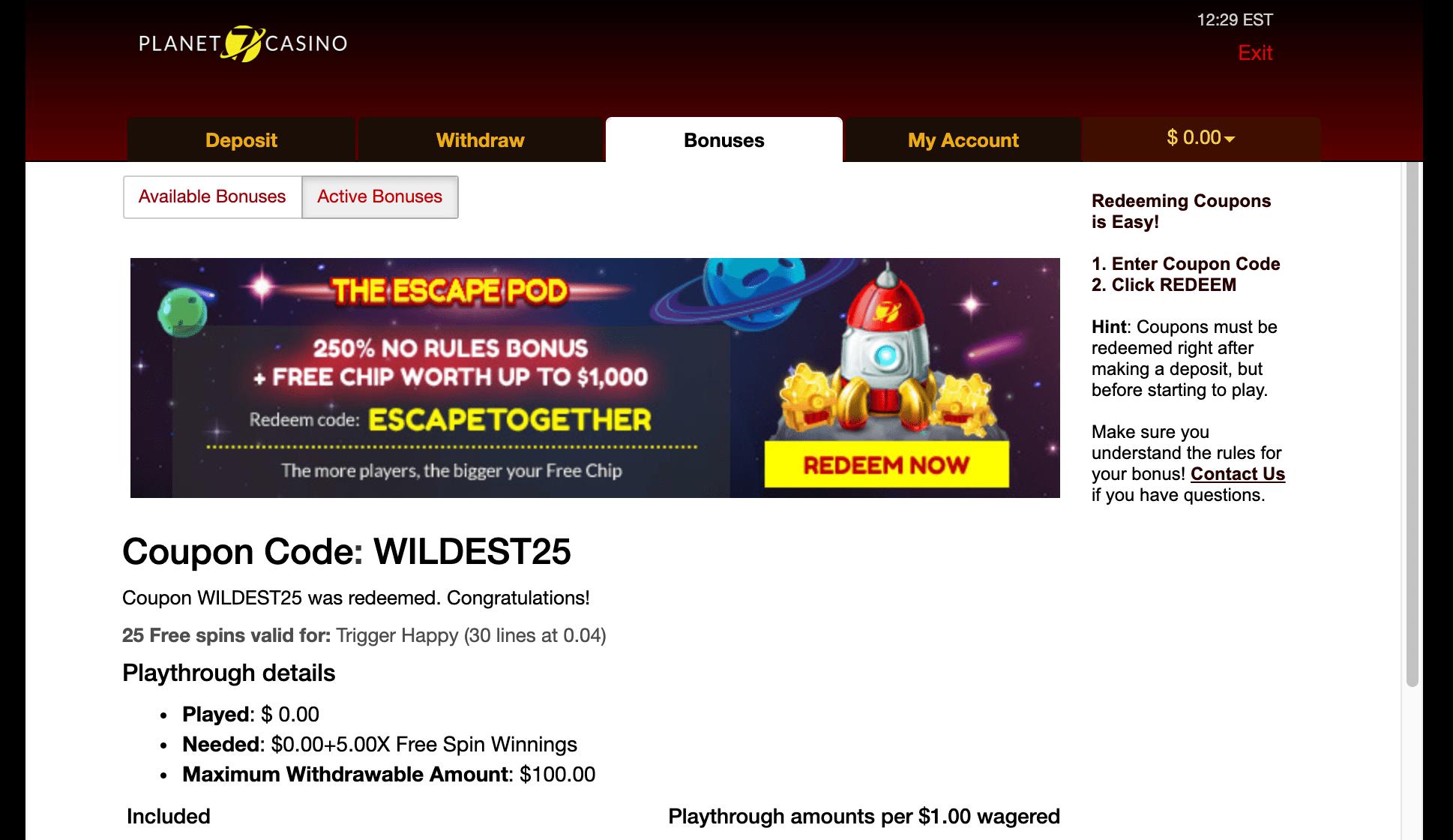 25 Free Spins at Planet 7 Casino   No Deposit Bonus
