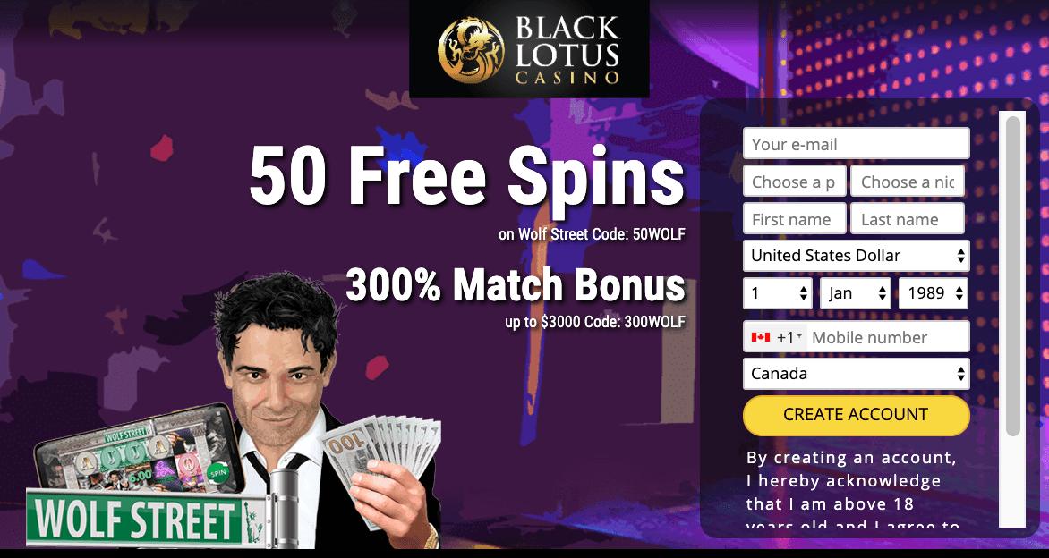 50 Free Spins At Black Lotus Casino No Deposit Bonus