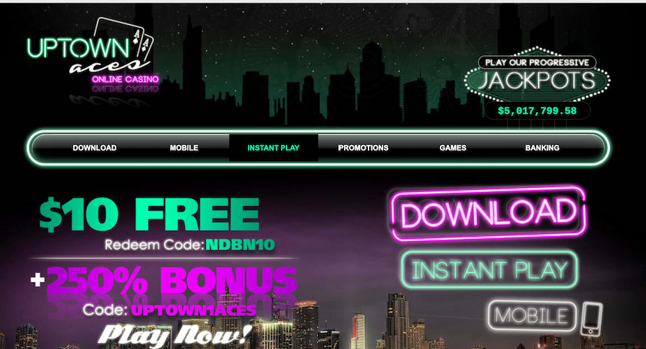 Uptown Aces No Deposit Welcome Bonus