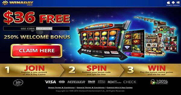 no deposit bonus for win a day casino