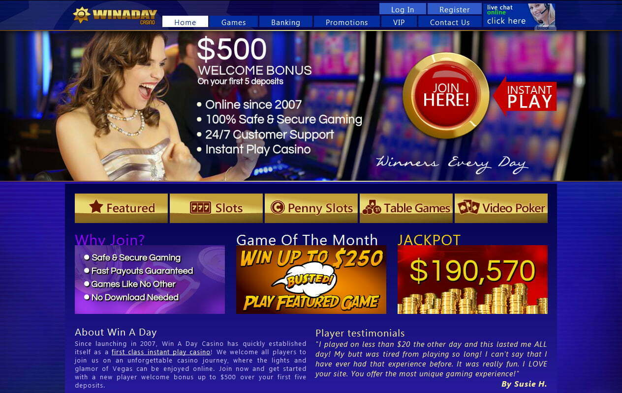 Win A Day Casino Bonus
