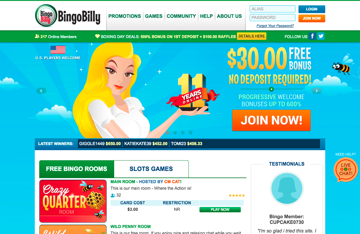 Bingo Billy New No Deposit Bonus Offer