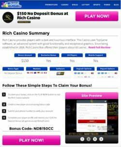 $150 No Deposit Bonus at Rich Casino