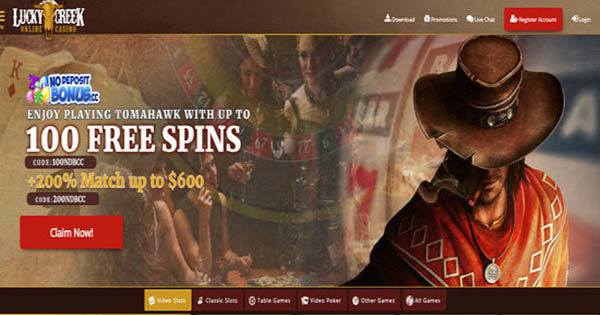 100 Free Spins At Lucky Creek No Deposit Bonus