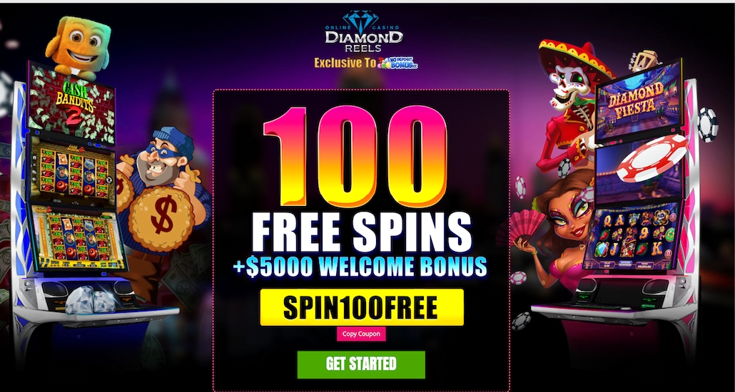 100 Free Spins At Diamond Reels Casino No Deposit Bonus