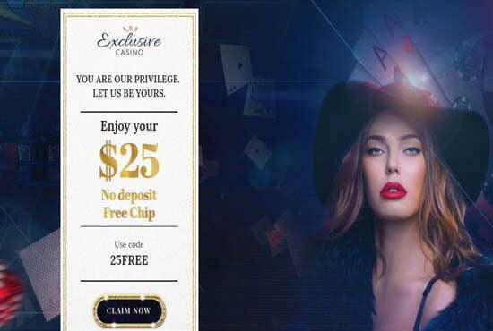25 No Deposit Bonus At Exclusive Casino No Deposit Bonus