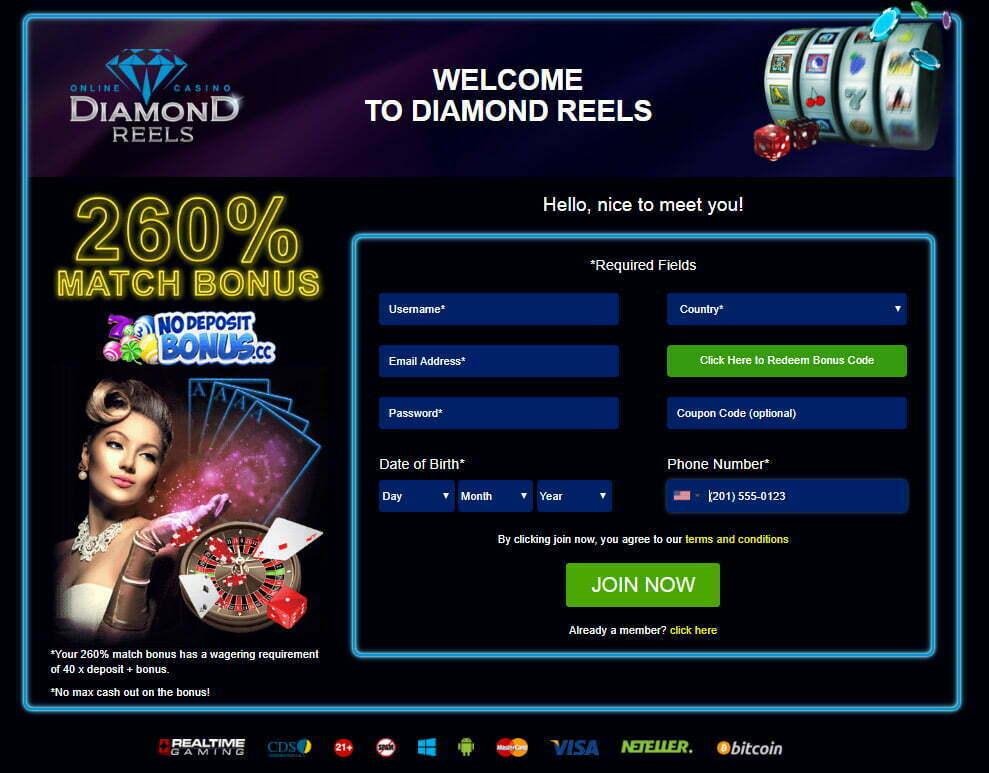 Diamond reels bonus codes 2018