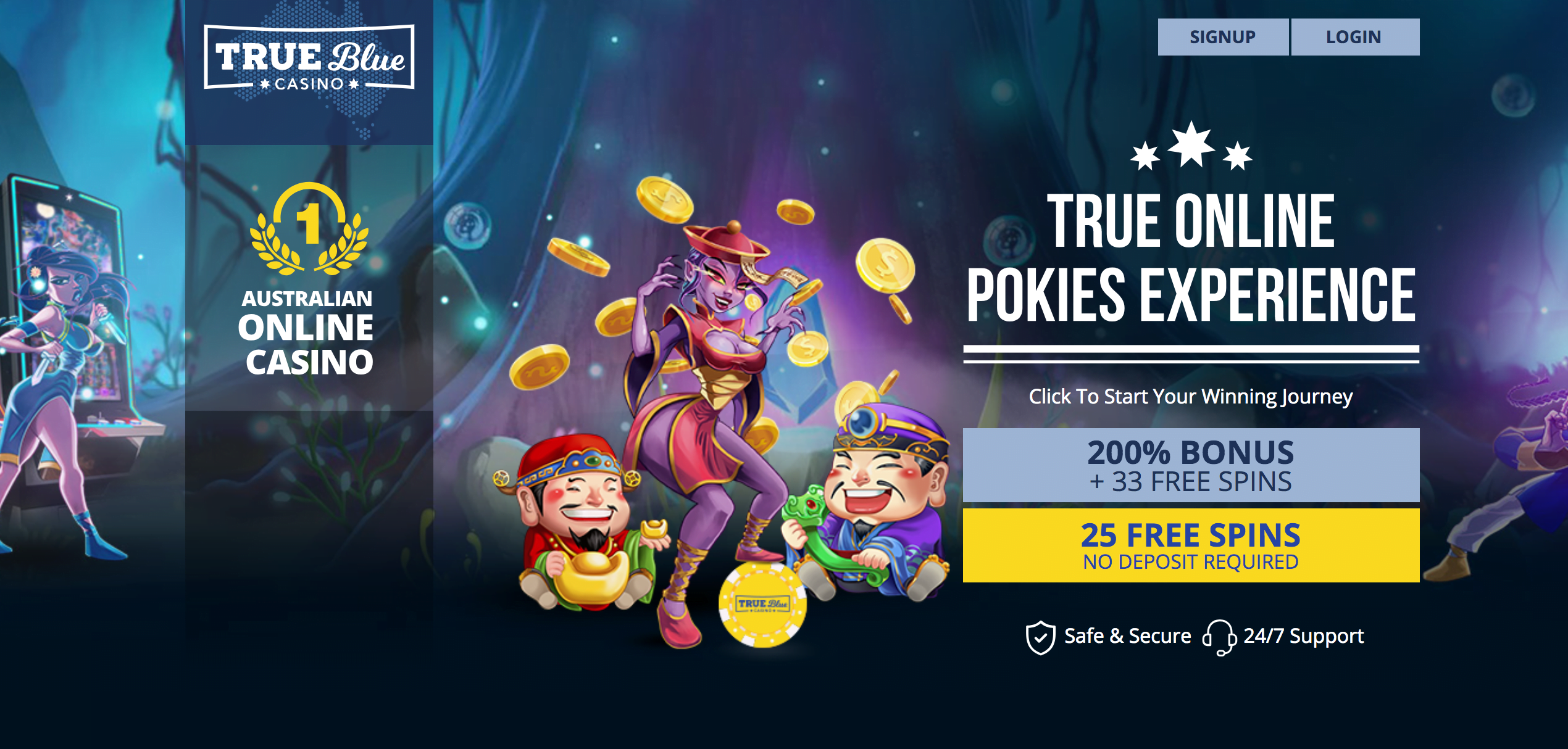 25 Free Spins At True Blue No Deposit Bonus