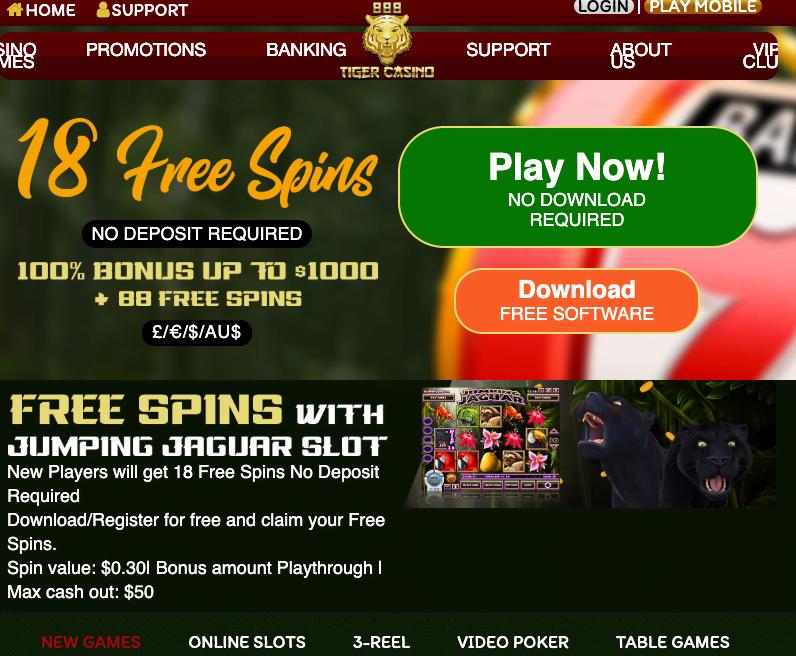 18 Free Spins at 888 Tiger Casino | No Deposit Bonus