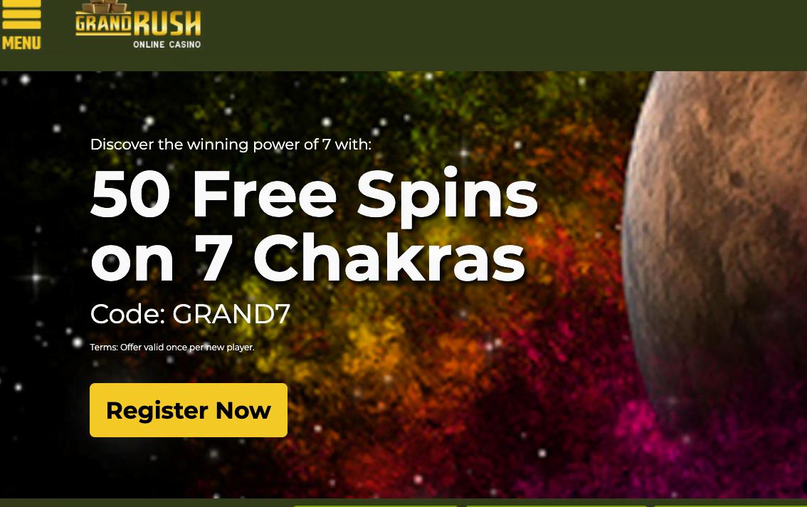 50 Free Spins at Grand Rush Casino | No Deposit Bonus